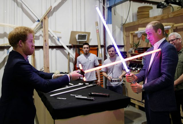 Prince Harry and Prince William visit the 'Star Wars' film set on April 19, 2016
