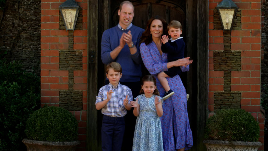 Prince William, Catherine Duchess of Cambridge, Prince George, Princess Charlotte, and Prince Louis clap for NHS carers as part of the BBC Children In Need and Comic Relief 'Big Night In at London