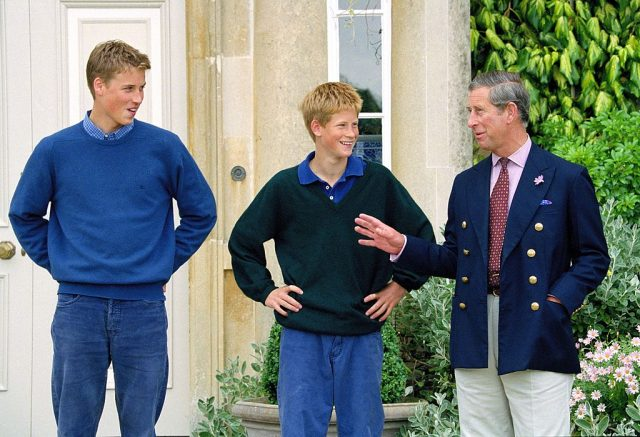 Prince William, Prince Charles, and Prince Harry stand outside of Highgrove House