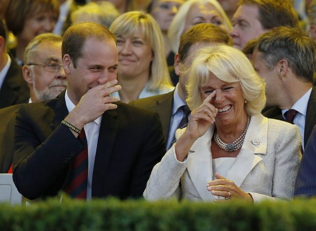 Prince William and Camilla Parker Bowles laugh at the opening ceremony of the Invictus Games on Sept. 10, 2014