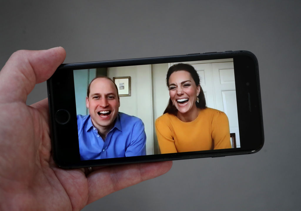 Prince William and Catherine, Duchess of Cambridge are seen in conversation with Casterton Primary Academy students via video chat