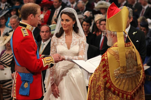 Prince William and Kate Middleton exchange rings during their 2011 royal wedding ceremony