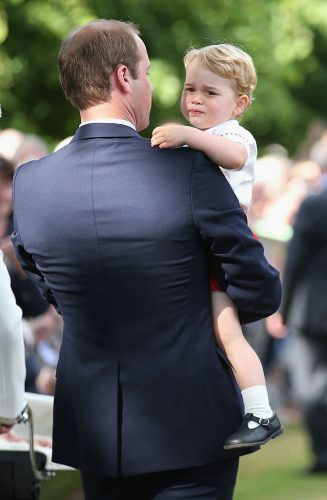 Prince William and Prince George at the christening of Princess Charlotte