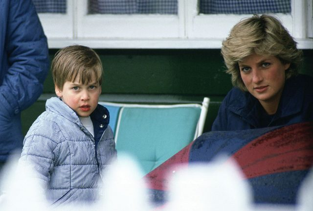 Prince William and Princess Diana at a polo match, 1987