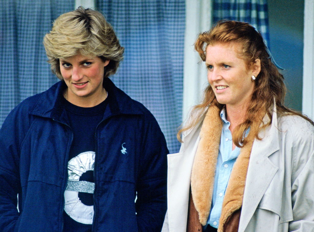 Princess Diana And The Duchess Of York Stand Together As They Watch A Polo Match In Windsor, Berkshire