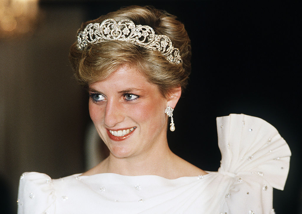Princess Diana wears a tiara during a visit of Bahrain