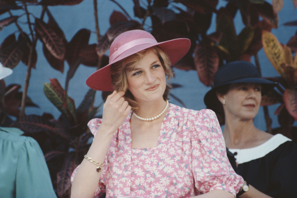 Diana, Princess of Wales (1961 - 1997) at the Sydney Opera House in Sydney, Australia, 28th March 1983. She is wearing a pink dress with a floral pattern by Bellville Sassoon.