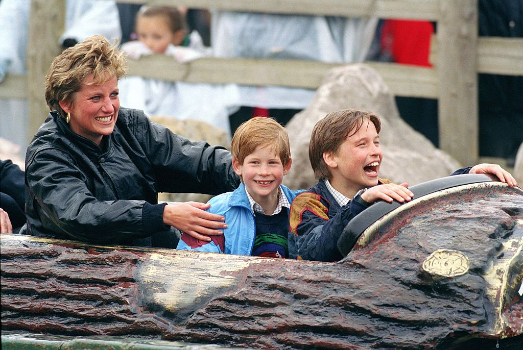 Princess Diana, Prince Harry, and Prince William at Thorpe Park