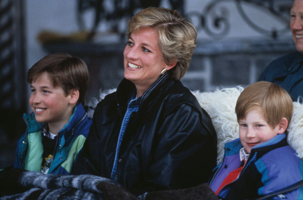 Princess Diana, Prince William, and Prince Harry on a skiing holiday in Lech, Austria, 30th March 1993.