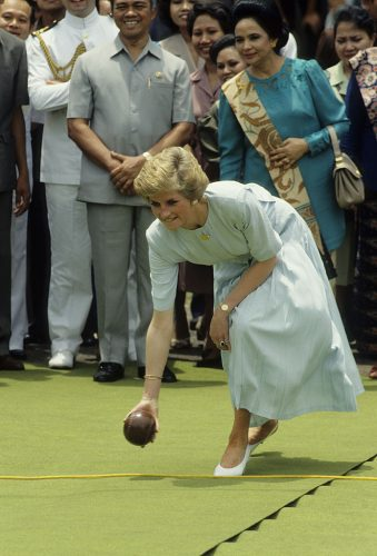 Princess Diana bowling in Indonesia, 1989