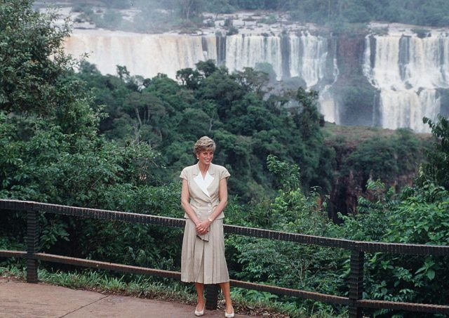 Princess Diana visits a waterfall in Brazil