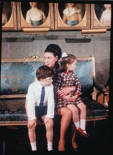 Princess Margaret with her children, Viscount Linley and Lady Sarah Armstrong-Jones