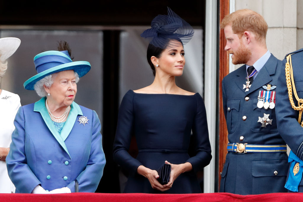 Queen Elizabeth II, Meghan, Duchess of Sussex and Prince Harry