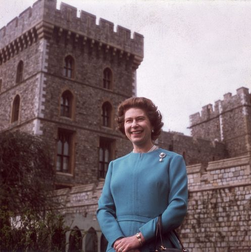 Queen Elizabeth II stands outside Windsor Castle on April 21, 1976, her 50th birthday