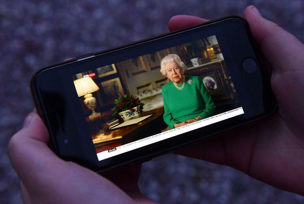 Queen Elizabeth II's National Address on an iPhone