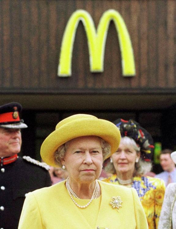 Queen Elizabeth II outside McDonald's