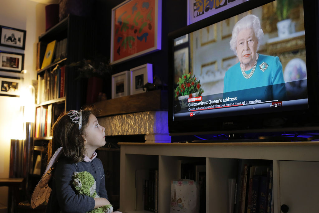Queen Elizabeth address viewed by a little girl