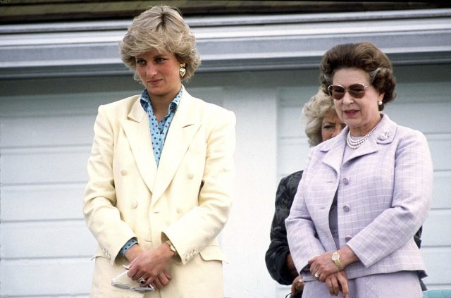 Princess Diana and Queen Elizabeth watching polo