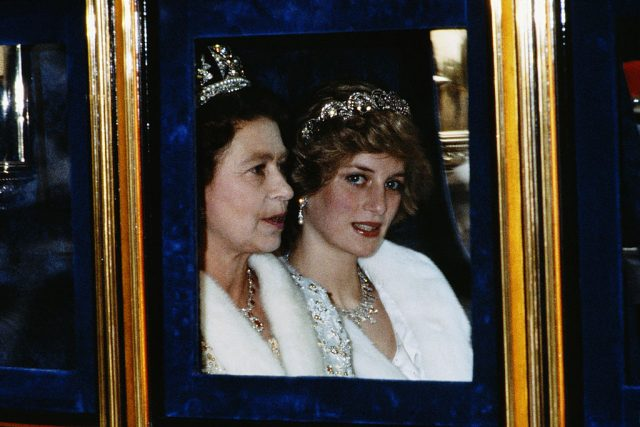 Queen Elizabeth and Princess Diana in Nov. 1982 attending the opening of Parliament in London, England