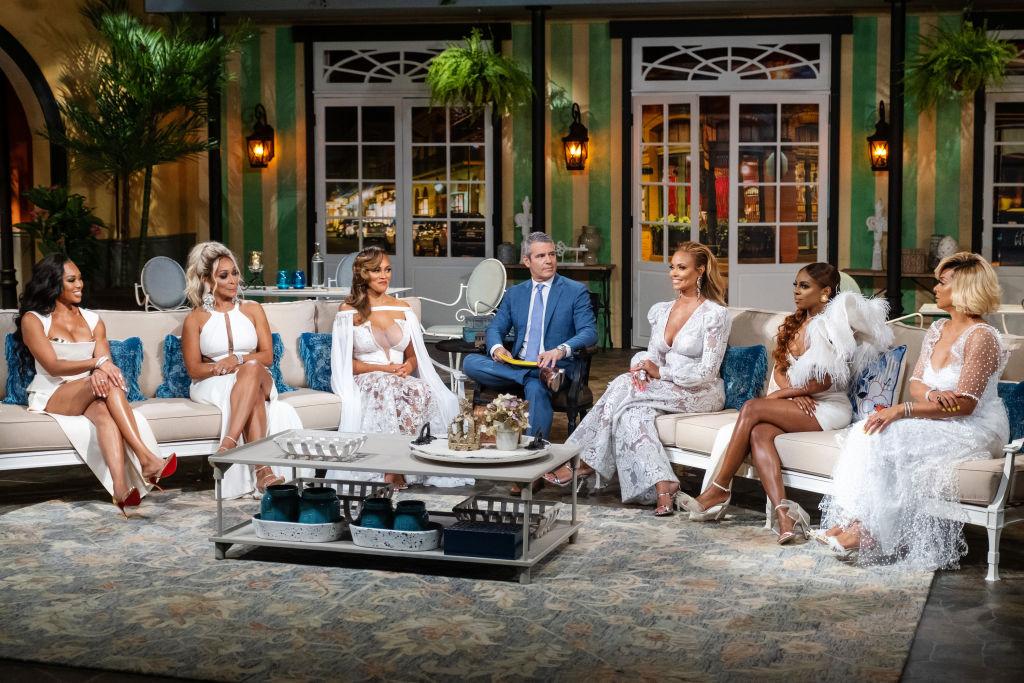 Monique Samuels, Karen Huger, Ashley Darby, Andy Cohen, Gizelle Bryant, Candiace Dillard Bassett, Robyn Dixon