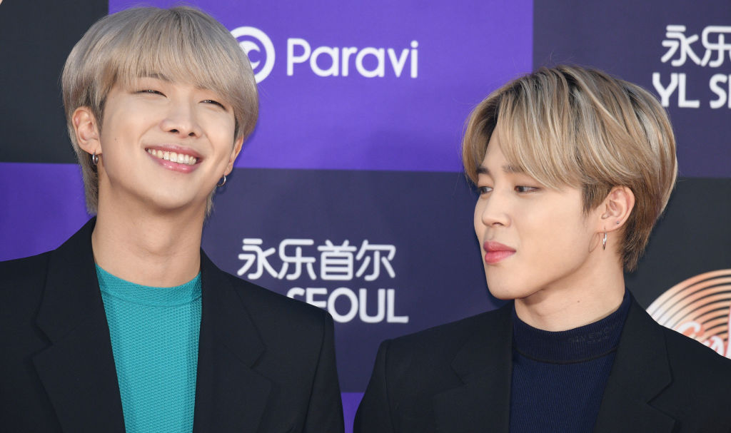 RM and Jimin of Bangtan Boys arrives at the photocall for the 34th Golden Disc Awards