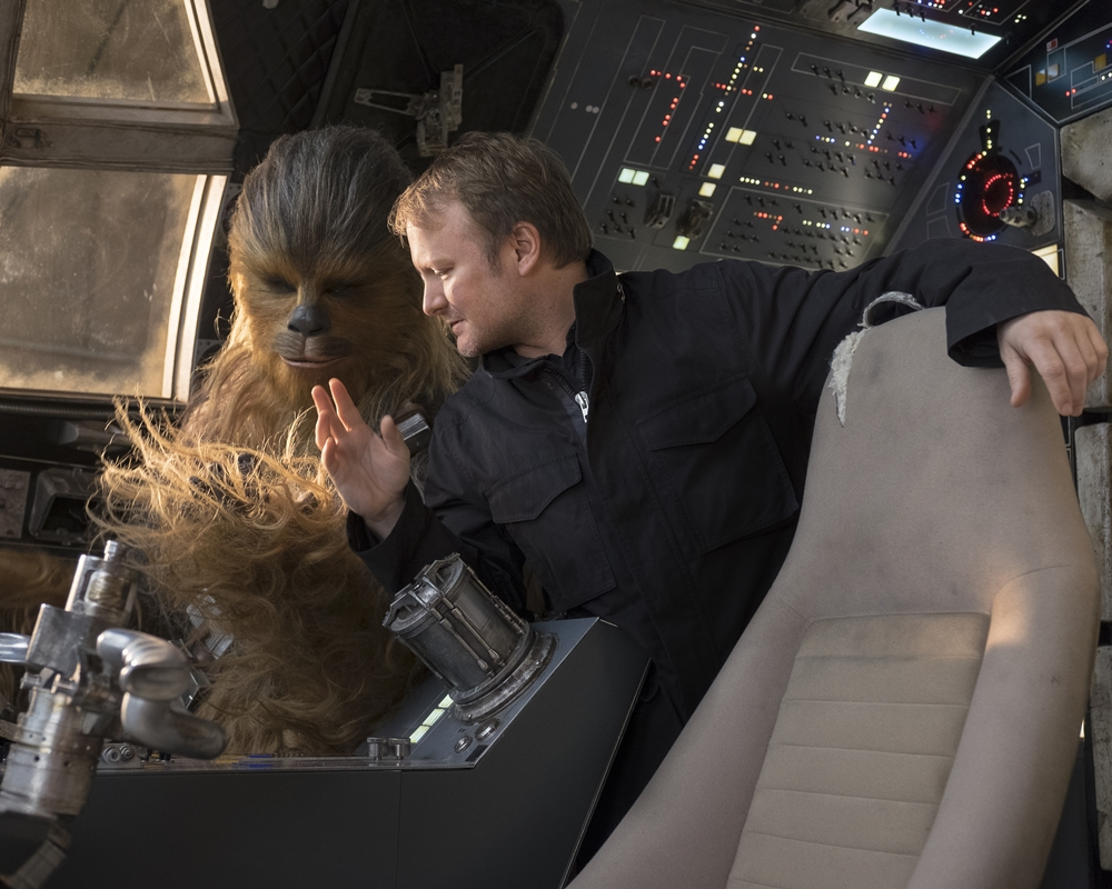 Rian Johnson and Chewbacca