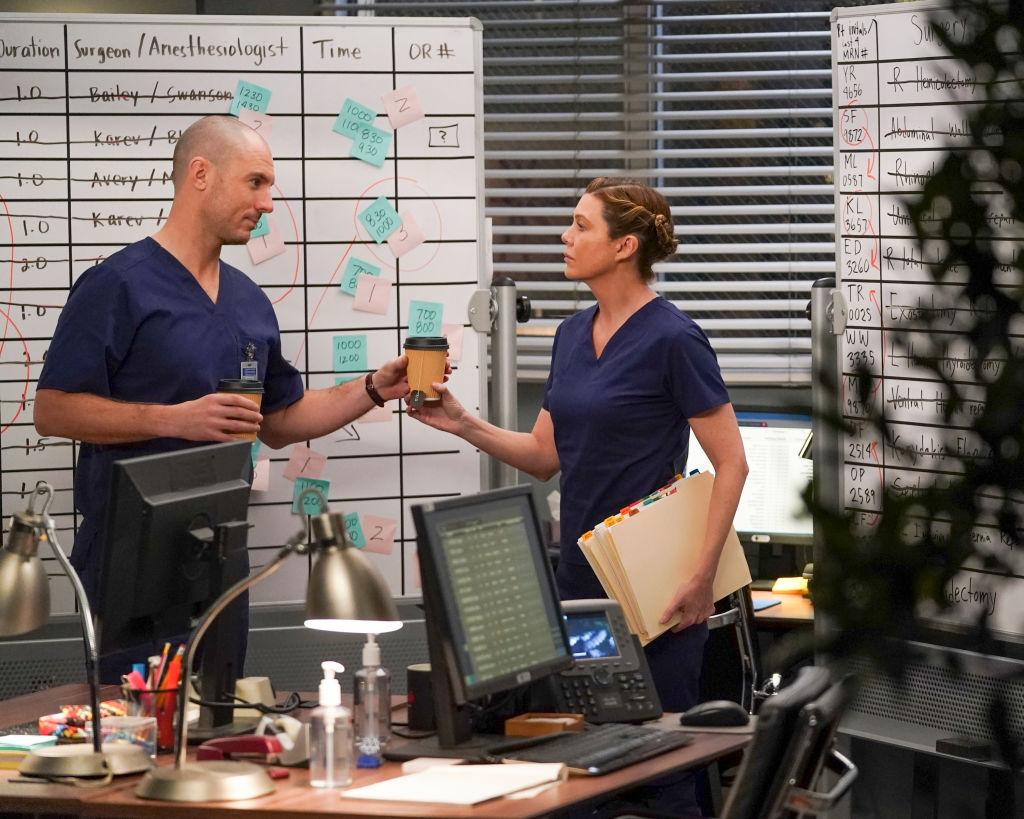 Richard Flood as Cormac Hayes and Ellen Pompeo as Meredith Grey on 'Grey's Anatomy' Season 16