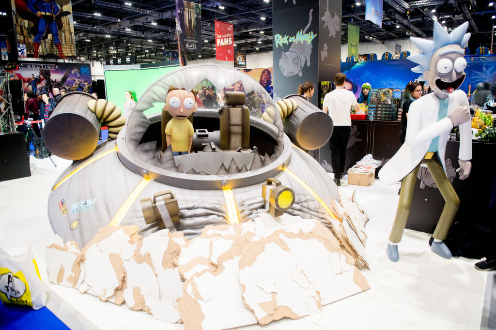 Rick and Morty statues at MCM London Comic Con 2018 at ExCel on October 28, 2018 in London, England.