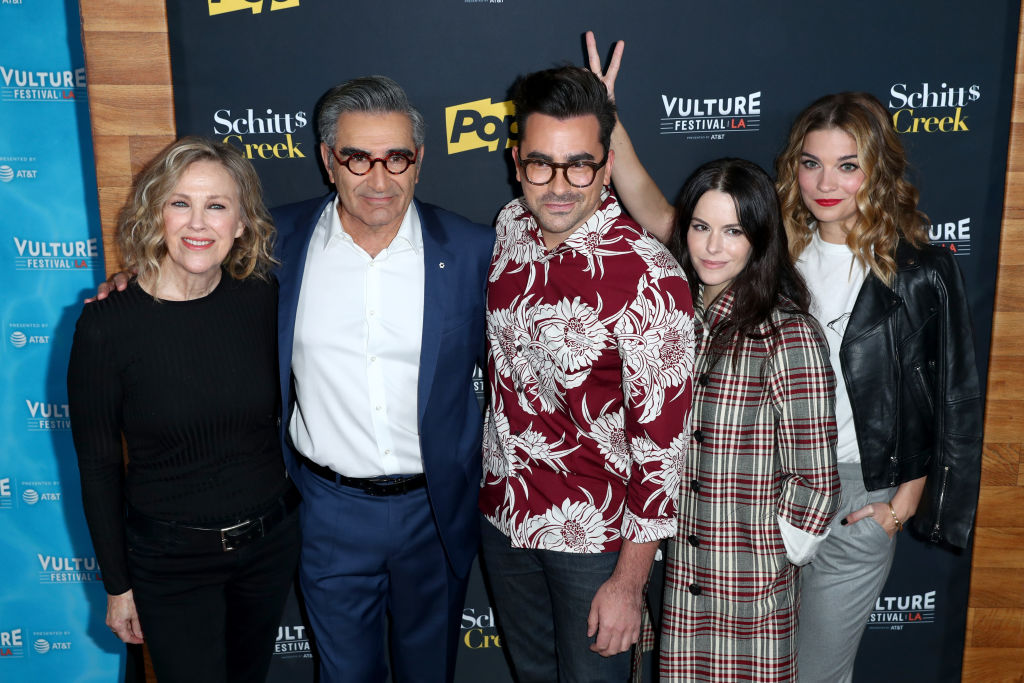Catherine O'Hara, Eugene Levy, Dan Levy, Emily Hampshire, and Annie Murphy attend the 'Schitt's Creek' panel, part of Vulture Festival LA
