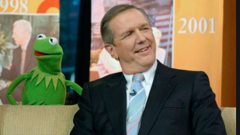 Charles Gibson (right) and Kermit the Frog