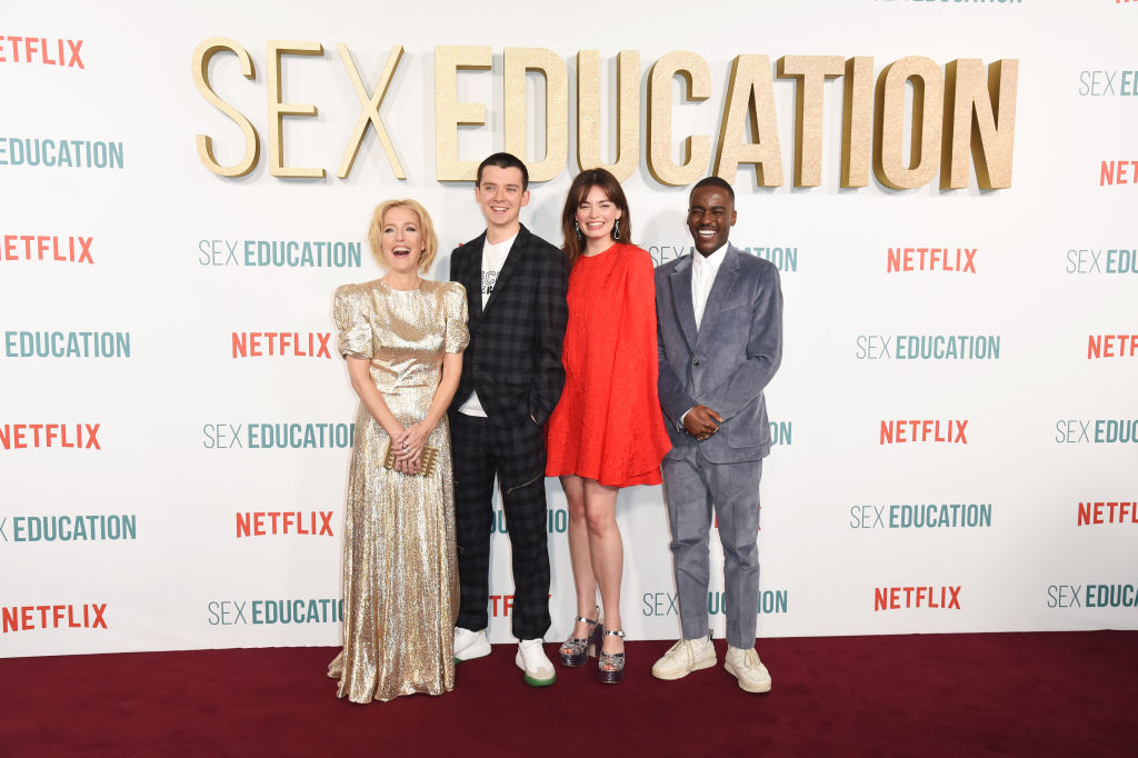 Gillian Anderson, Asa Butterfield, Emma Mackey and Ncuti Gatwa | David M. Benett/Dave Benett/WireImage