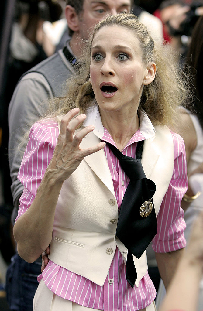 """Sarah Jessica Parker as Carrie Bradshaw on location for """"Sex and the City: The Movie"""""""