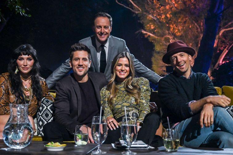 The Week 3 Judges of 'The Bachelor Presents: Listen to Your Heart': Kesha, Jordan Rodgers, JoJo Fletcher, Jason Mraz, and Chris Harrison