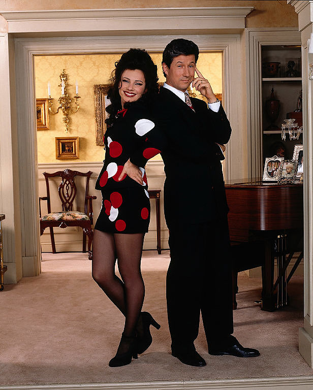 Fran Drescher as Fran Fine and Charles Shaugnessy as Maxwell Sheffield in 'The Nanny'