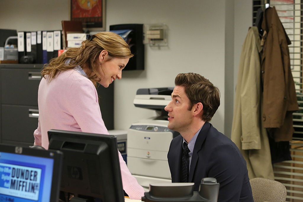 Jenna Fischer as Pam Beesly Halpert, John Krasinski as Jim Halpert on 'The Office'