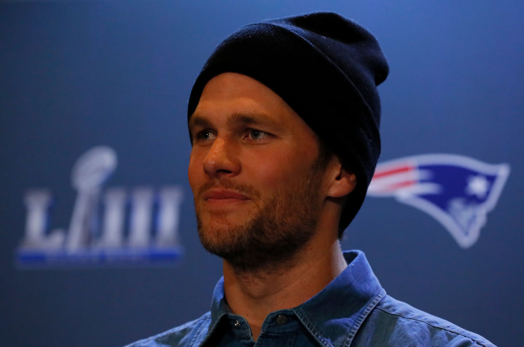 Tom Brady in a knit hat