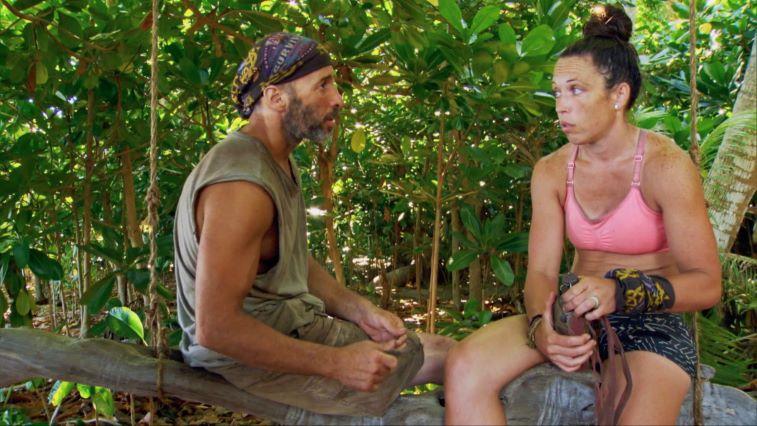 Tony Vlachos and Sarah Lacina arguing on 'Survivor: Winners at War'