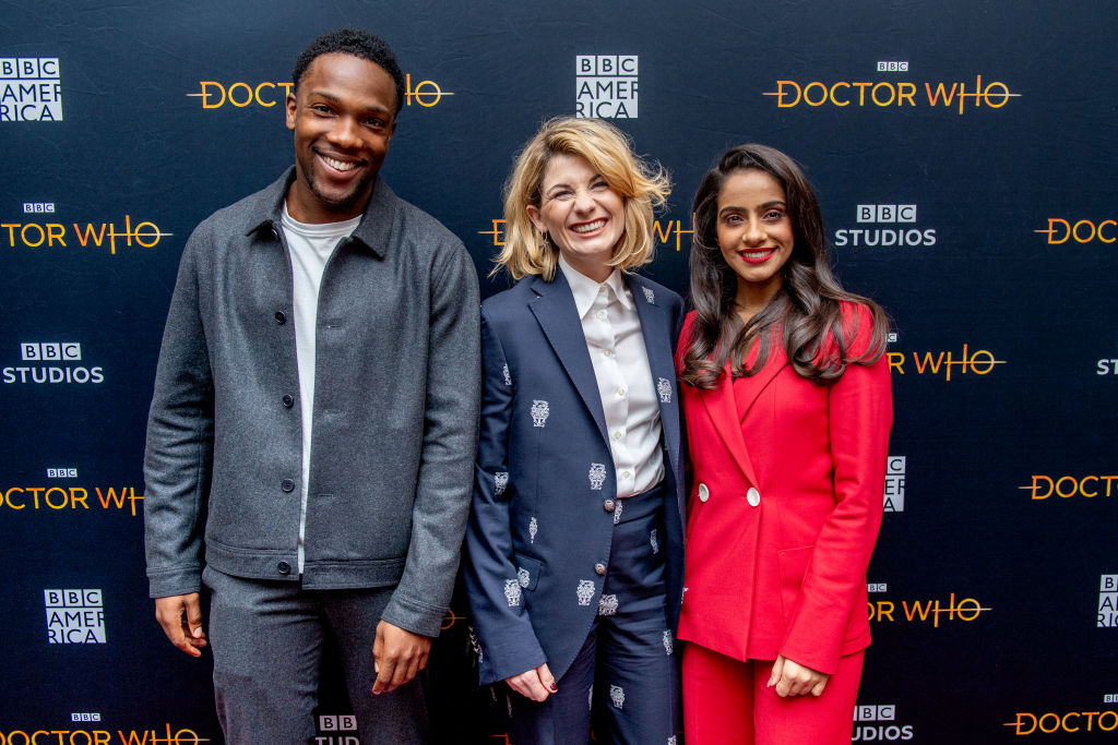 Tosin Cole, Jodie Whittaker, and Mandip Gill of Doctor Who: where to stream Doctor Who