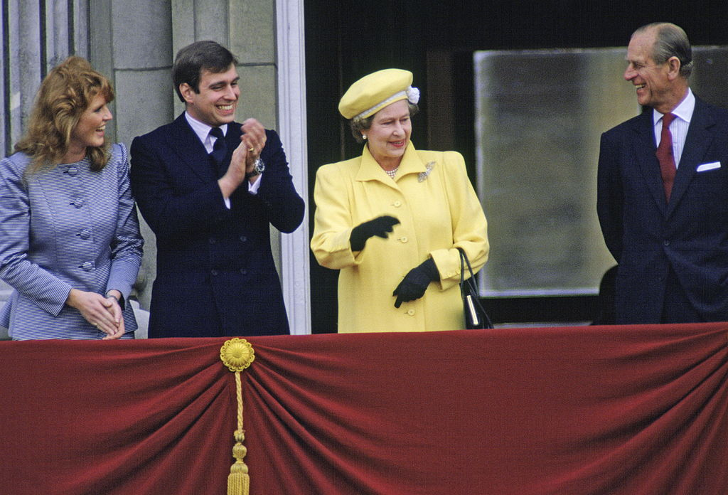 Prince Andrew With His Fiancee, Sarah Ferguson, On The Balcony Of Buckingham Palace With The Queen And Prince Philip For The Queen's 60th Birthday