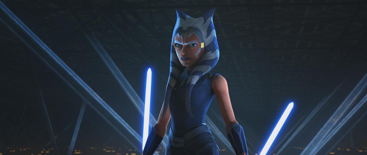 Ahsoka stands off against Maul in 'Star Wars: The Clone Wars' Season 7.