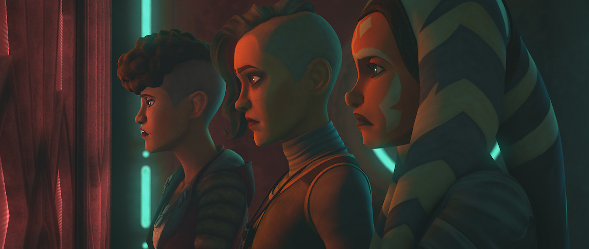 Ahsoka and the Martez sisters in a Pyke jail cell.