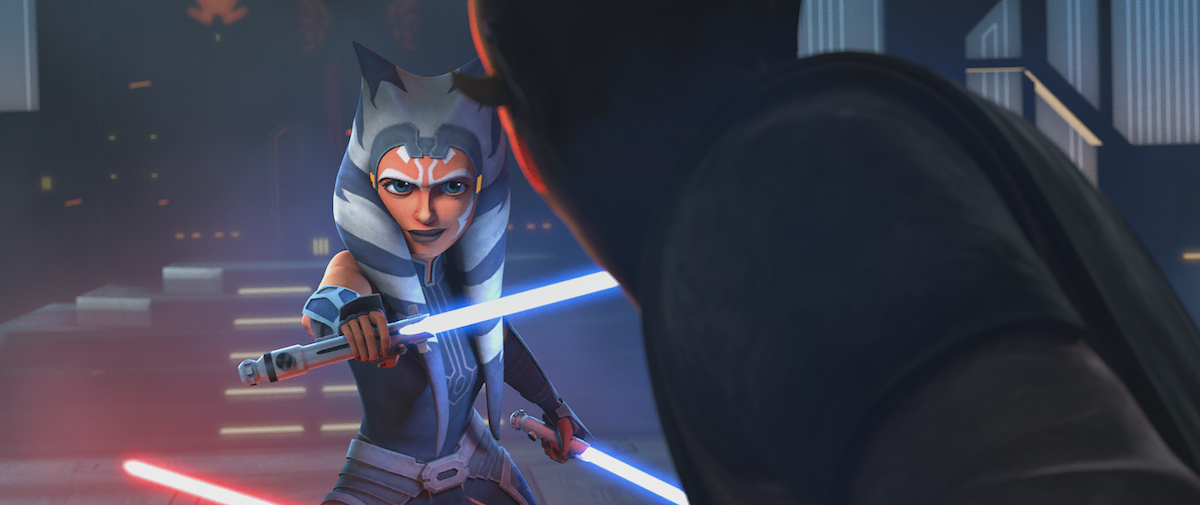 Ahsoka gives Maul a smile as they duel