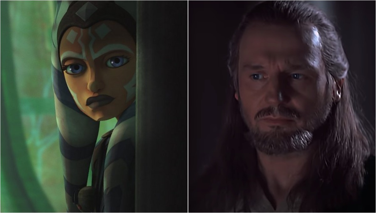 Left image is Ahsoka in Season 7, Episode 8 of 'The Clone Wars'/Right image is of Qui-Gon Jinn in 'The Phantom Menace.'