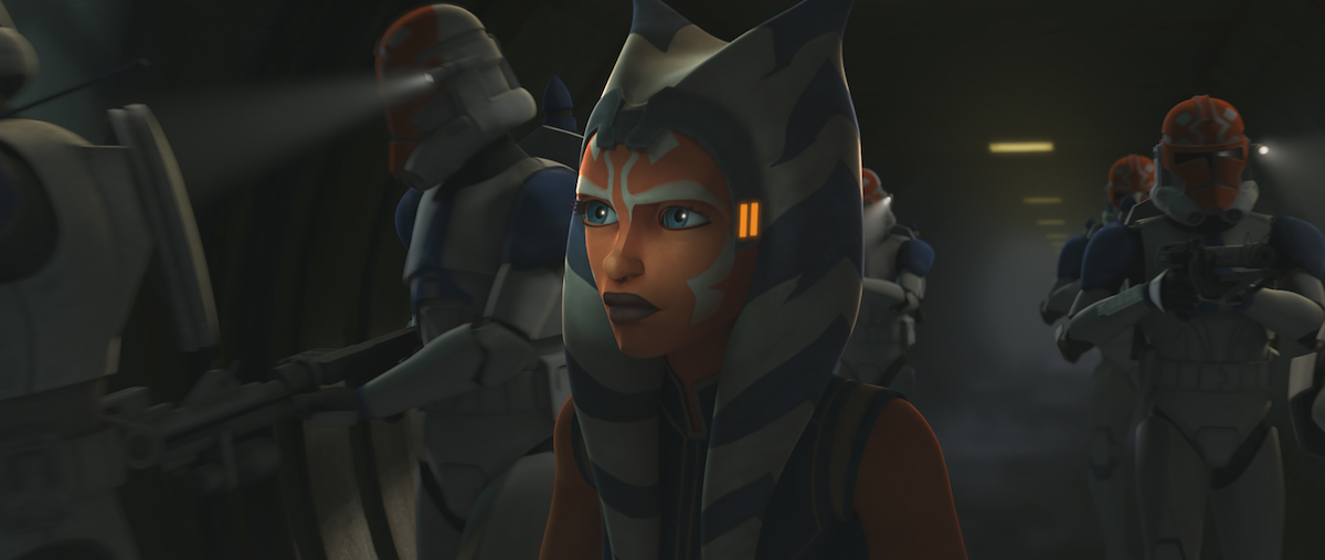 Ahsoka, Captain Vaughn, and the other 332nd members in the tunnels of Mandalore.