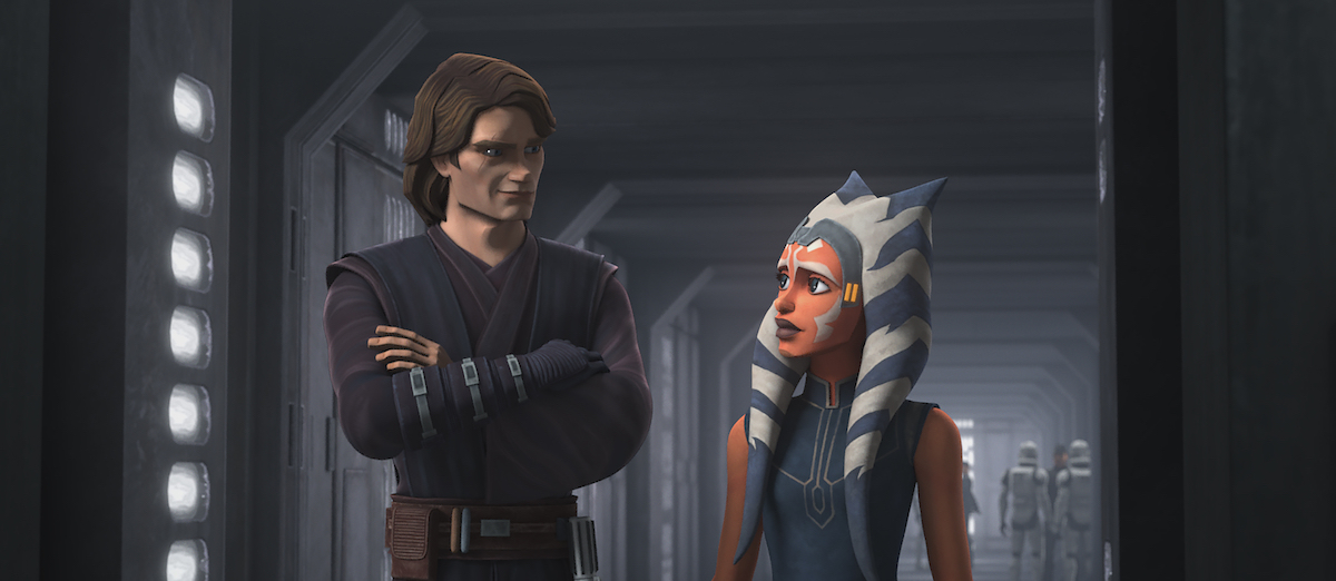 "Anakin leads Ahsoka through the halls as Clones still call her ""Commander,"" 'Star Wars: The Clone Wars'"