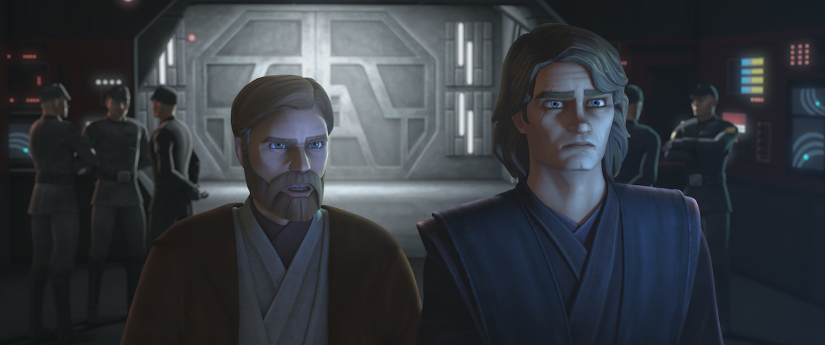 Obi-Wan Kenobi and Anakin Skywalker seeing Ahsoka through the holochat for the first time, 'Star Wars: The Clone Wars.'