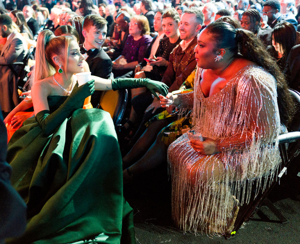 Ariana Grande and Lizzo attend the 62nd Annual GRAMMY Awards on January 26, 2020