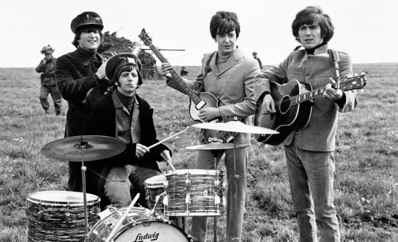 The Beatles on set of 'Help'