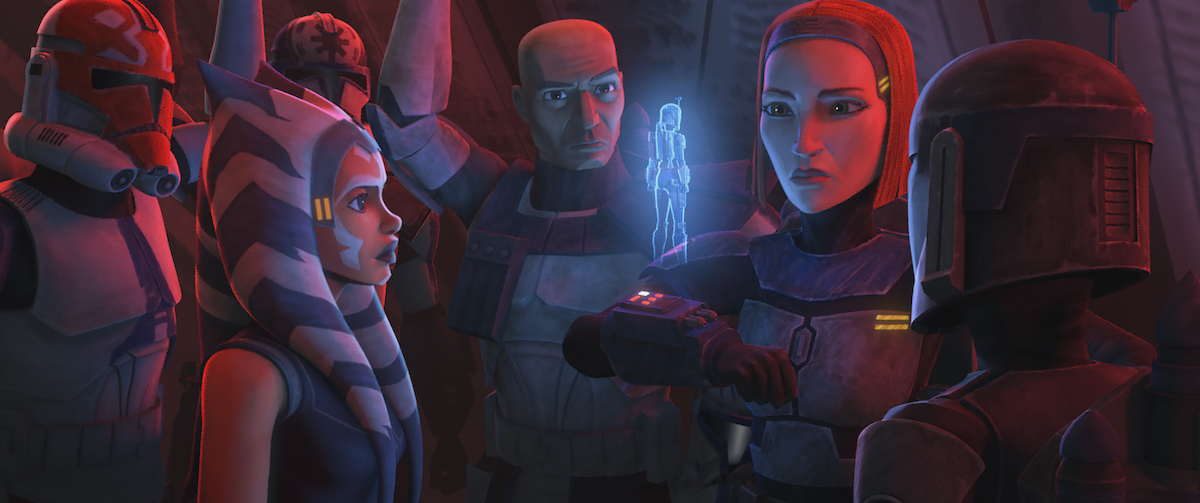 Bo-Katan speaks with Ursa Wren as Ahsoka, Rex, and the 332nd Company looks on, 'Star Wars: The Clone Wars.'
