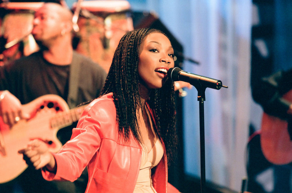 Brandy performing on 'THE TONIGHT SHOW WITH JAY LENO' on May 13, 1999.